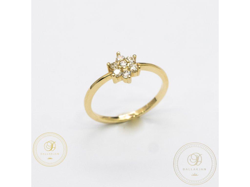 Krásný dámský zlatý prsten se zirkonem (Velikost 52)