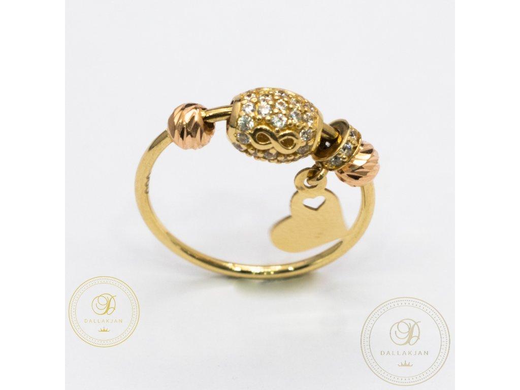 Krásný dámský prsten ze žlutého zlata (Velikost 53)