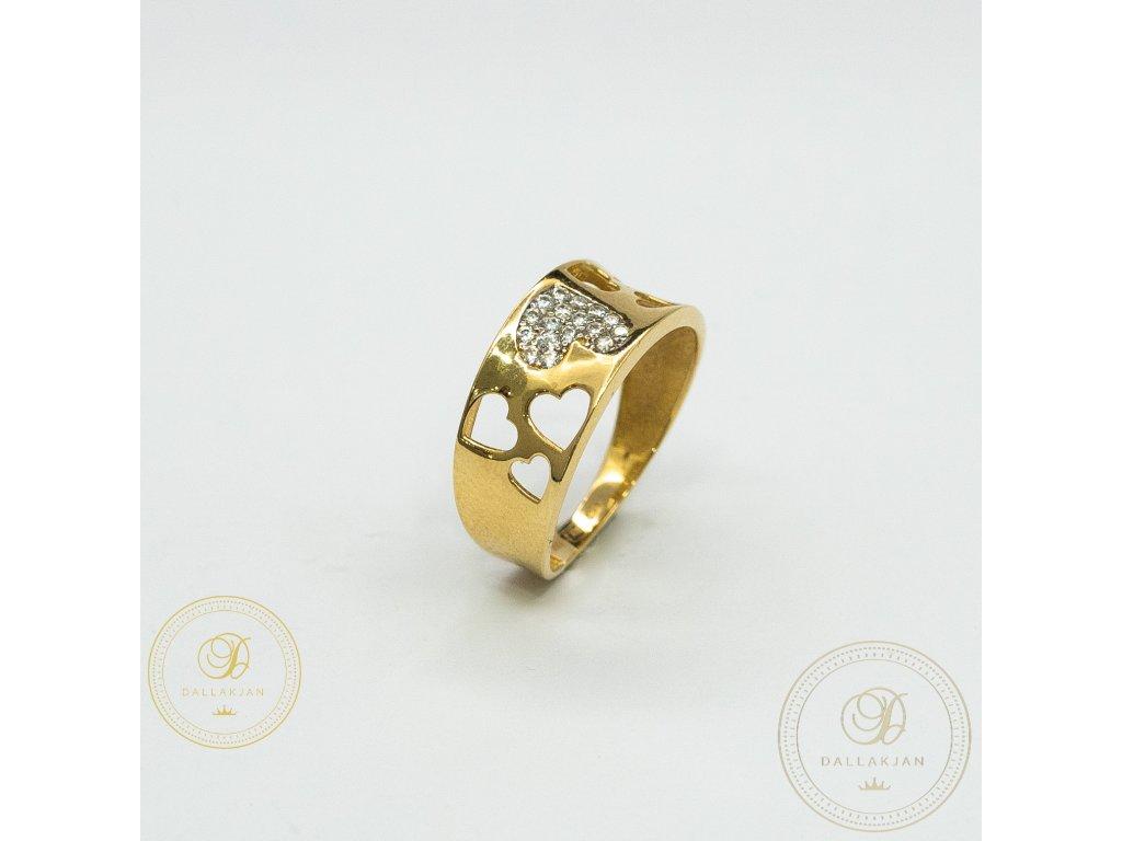 Dámský zlatý prsten ze žlutého zlata se zirkonem (Velikost 56)