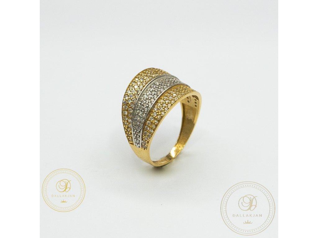 Moderní dámský prsten kombinovaný s bílým a žlutým zlatem (Velikost 57)