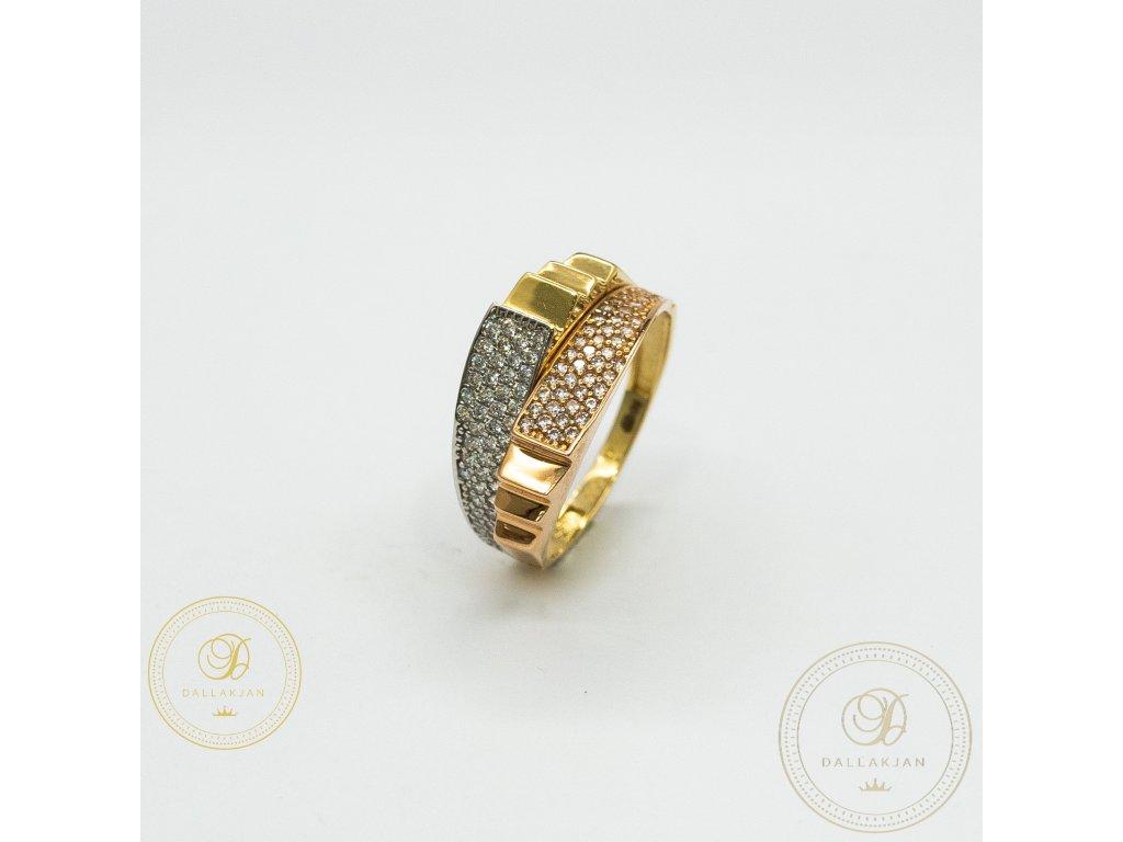 Dámský zlatý prsten s kombinací žlutého, bílého a růžového zlata (Velikost 59)