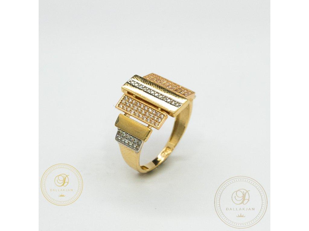 Moderní dámský prsten kombinovaný s bílým a žlutým zlatem (Velikost 58)