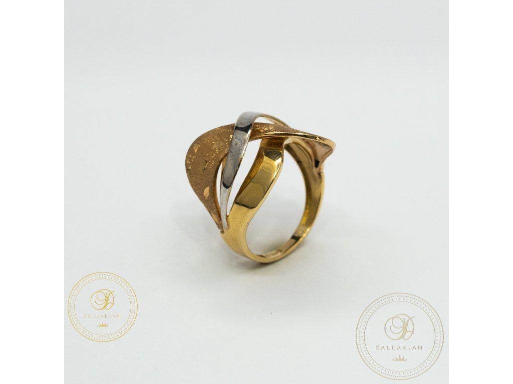 Dámský zlatý prsten kombinovaný s bílým zlatem (Velikost 59)