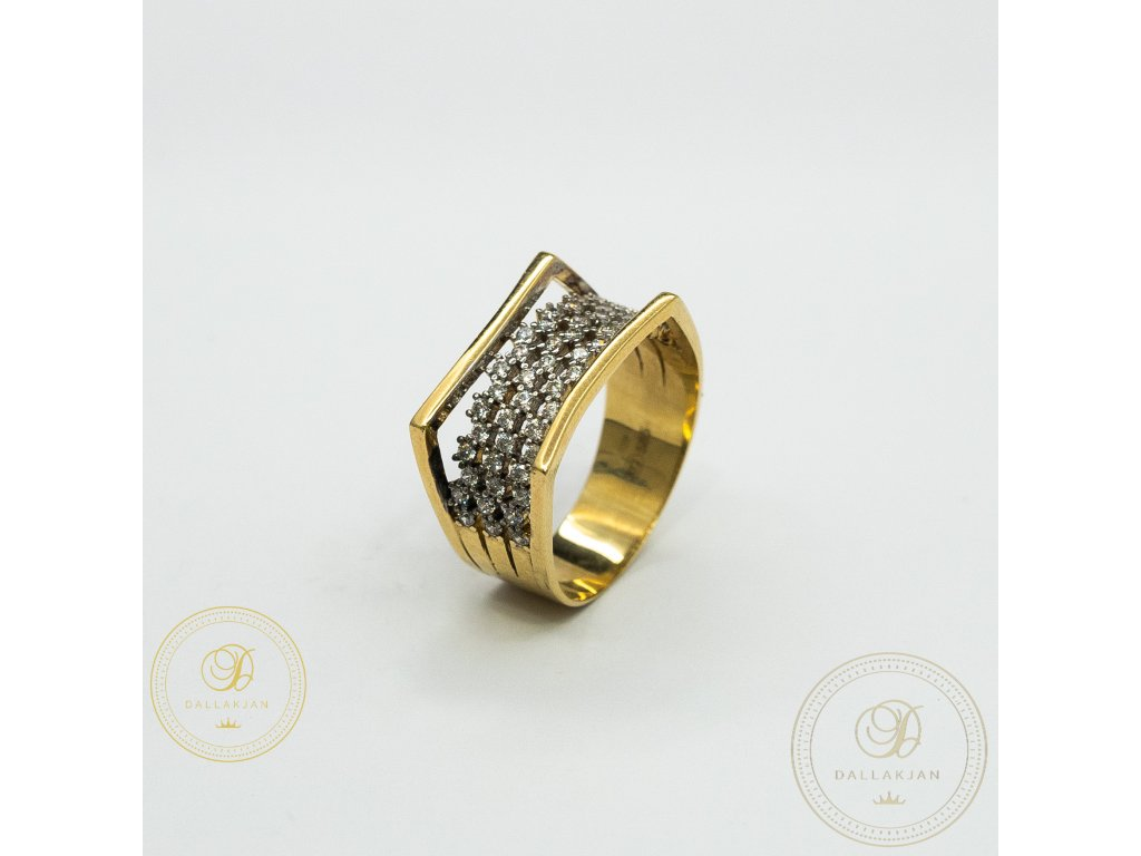 Moderní dámský prsten ze žlutého zlata zdobený zirkonem (Velikost 61)