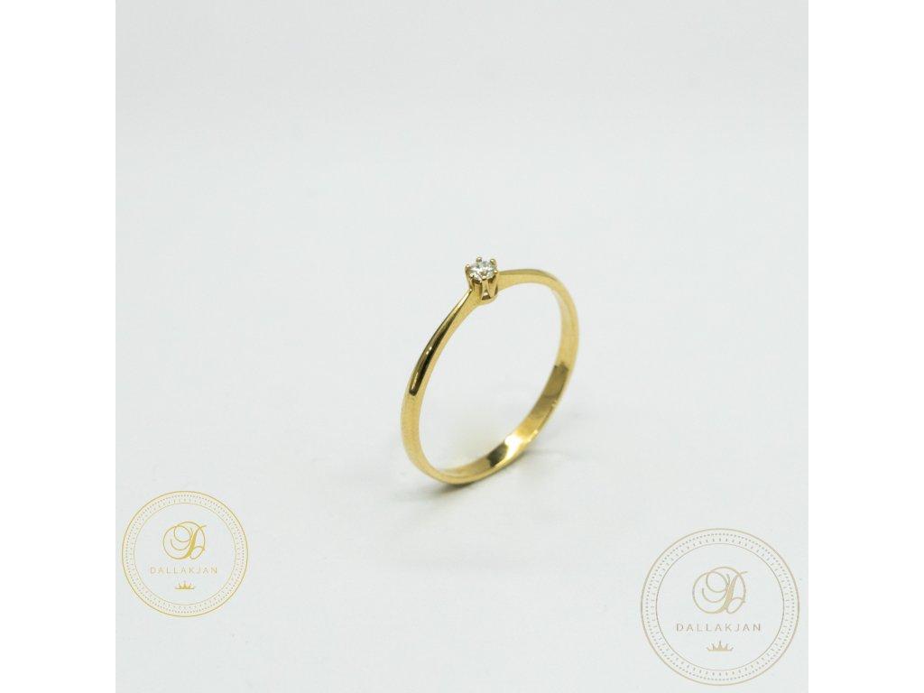 Jemný dámský prsten ze žlutého zlata se zirkonem (Velikost 57)