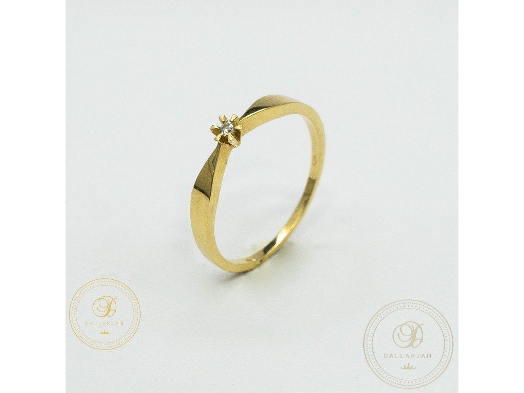 Jemný dámský prsten ze žlutého zlata se zirkonem (Velikost 55)