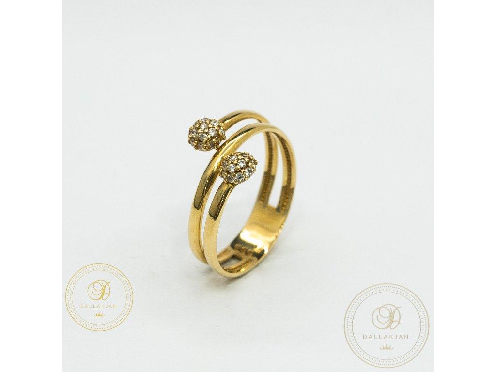 Jemný dámský prsten ze žlutého zlata zdoben zirkonem (Velikost 56)