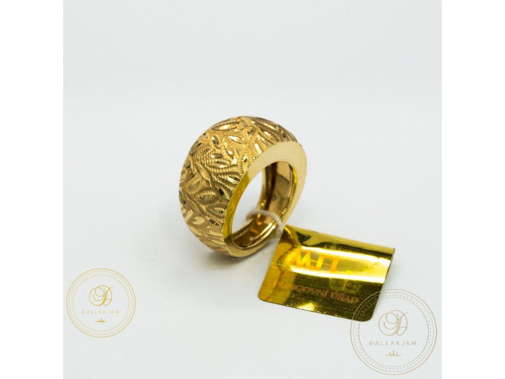 Dámský zlatý prsten ze žlutého zlata (Velikost 53)