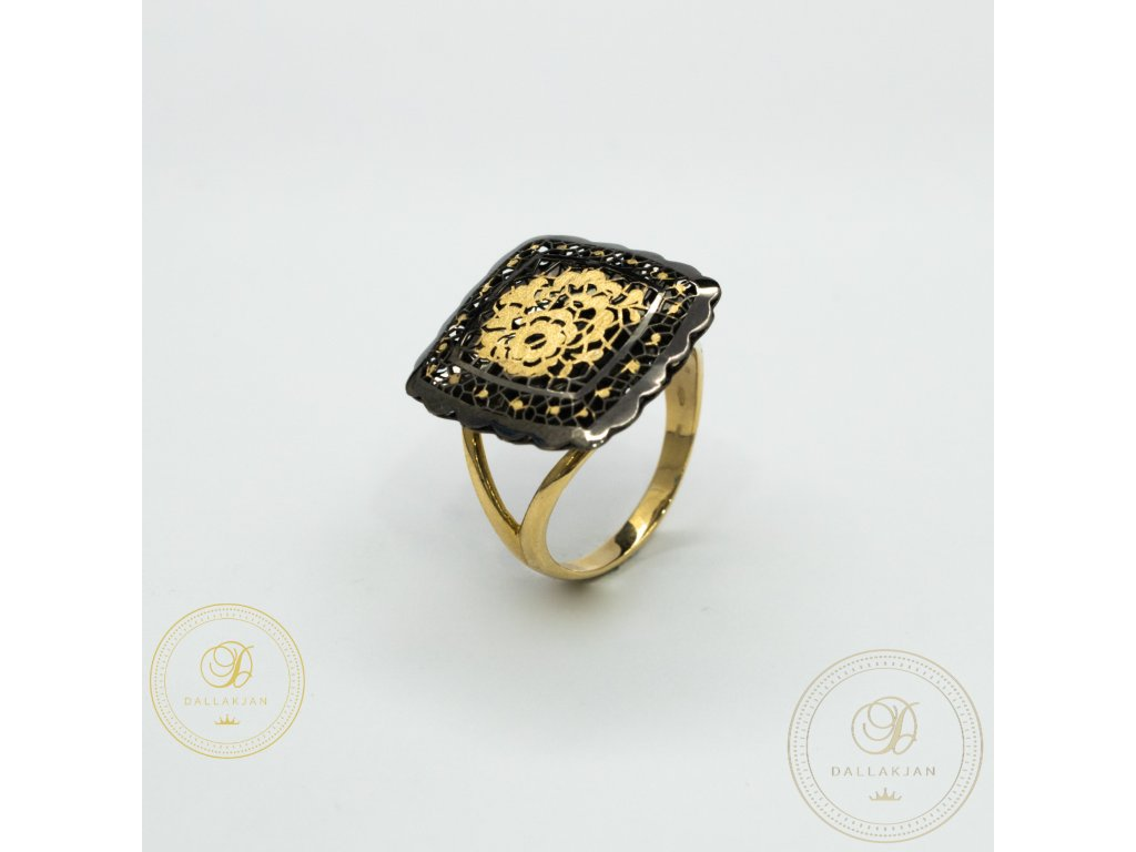 Dámský zlatý prsten kombinovaný s černým zlatem (Velikost 61)