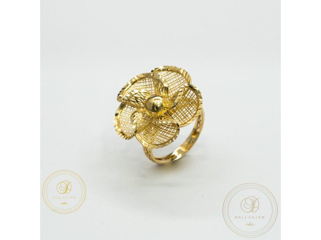 Krásný dámský prsten ze žlutého zlata (Velikost 59)