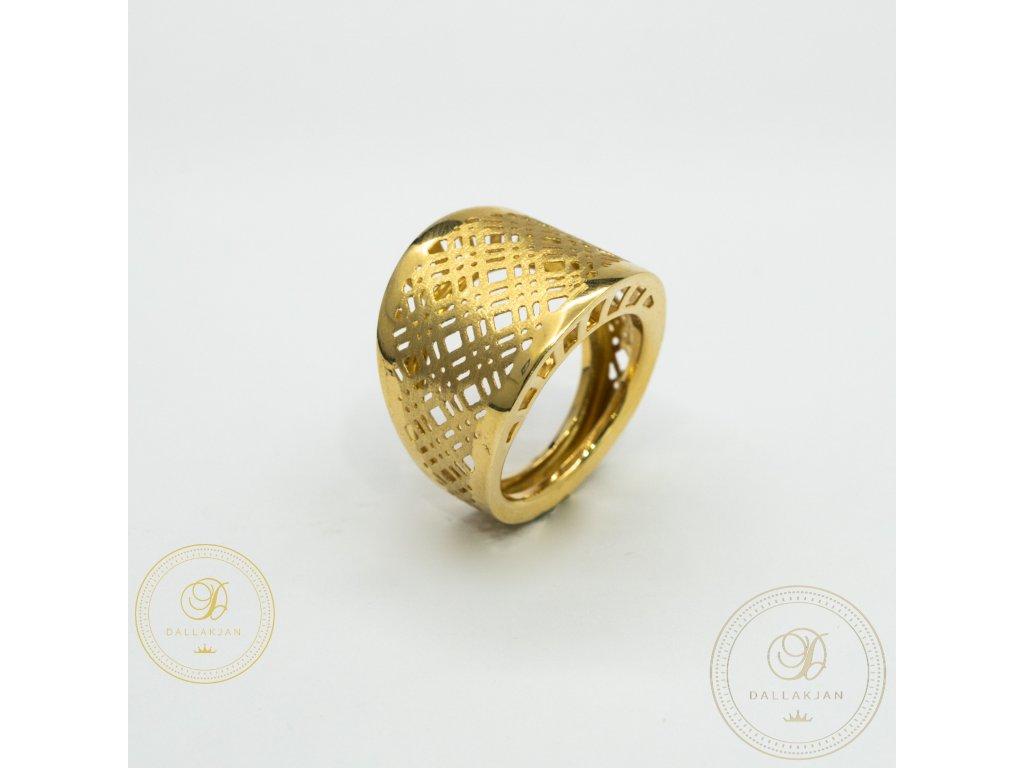 Netradiční dámský prsten ze žlutého zlata (Velikost 58)
