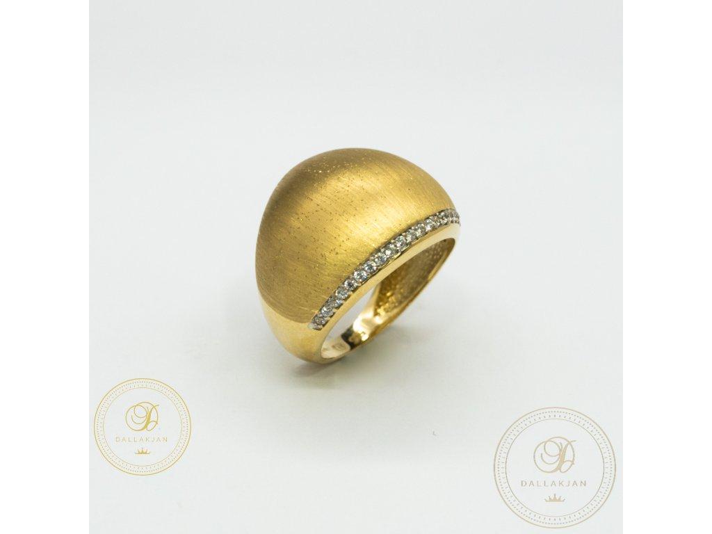 Krásný dámský prsten ze žlutého zlata zdoben zirkonem (Velikost 59)
