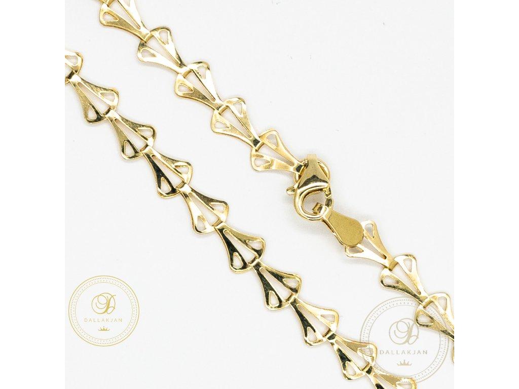 Krásný dámský náramek ze žlutého zlata (Délka 17)