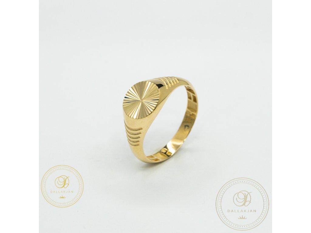 Pánský decentní prsten ze žlutého zlata (Velikost 65)
