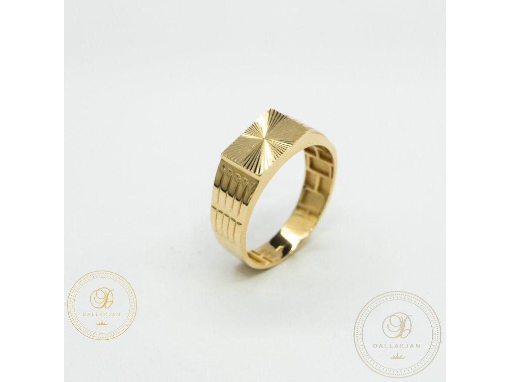 Panský zlatý prsten ze žlutého zlata (Velikost 64)