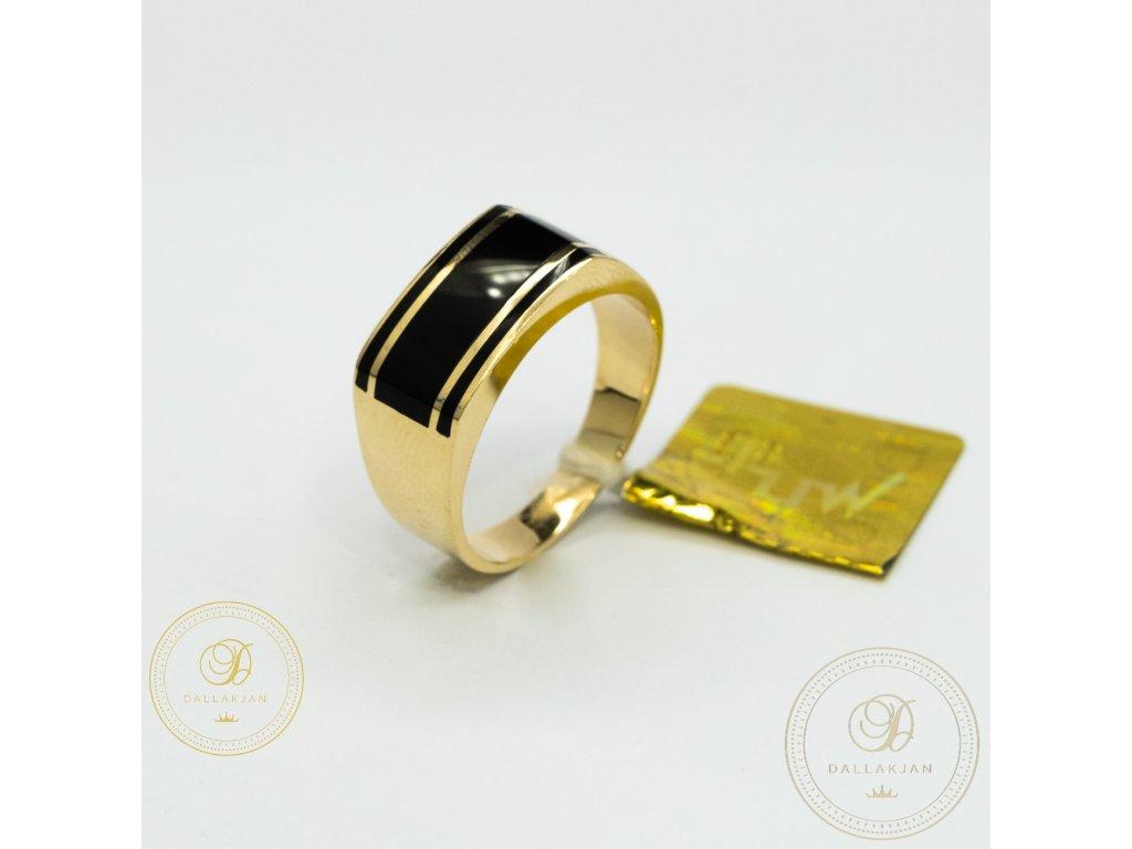 Pánský zlatý prsten ze žlutého zlata s lesklým povrchem (Velikost 65)