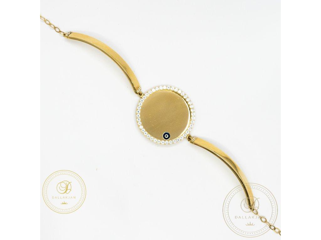 Dámský zlatý náramek s plackou zdobenou zirkonem (Délka 20)