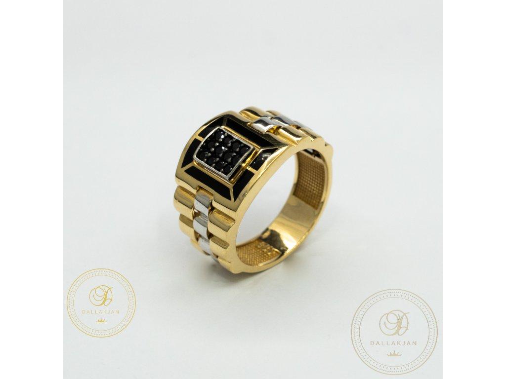 Pánský zlatý prsten ze žlutého zlata kombinovany s bílým zlatem zdoben černým zirkonem (Velikost 65)