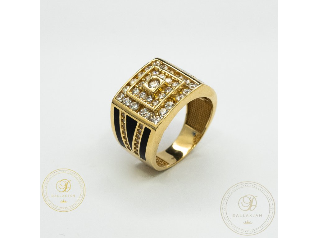 Masivní pánský zlatý prsten ze žutého zlata zdobený zirkonem (Velikost 64)