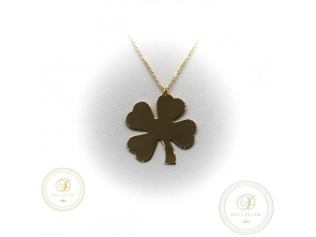 Zlatý řetízek s přívěškem ze žlutého zlata čtyřlístek symbolizující štěstí (Délka 43)