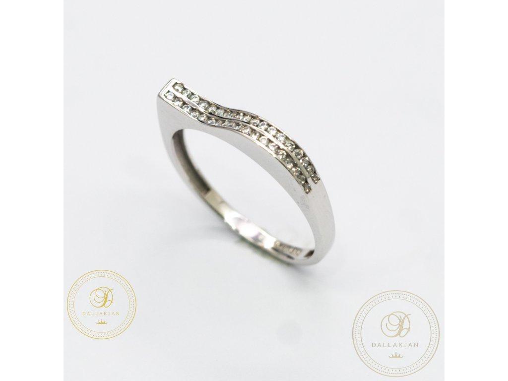 Netradiční dámský prsten z bíého zlata (Velikost 57)