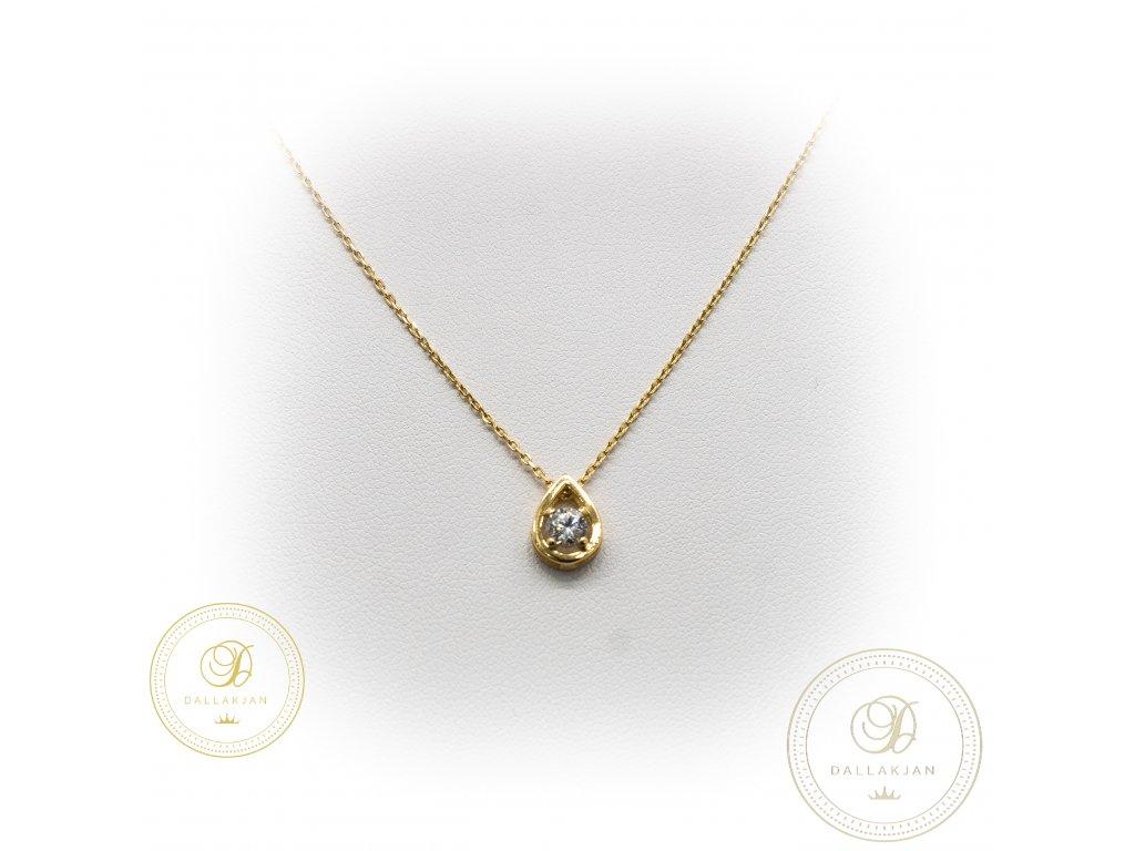 Zlatý řetízek s přívěškem ze žlutého zlata se zirkonem (Délka 46)