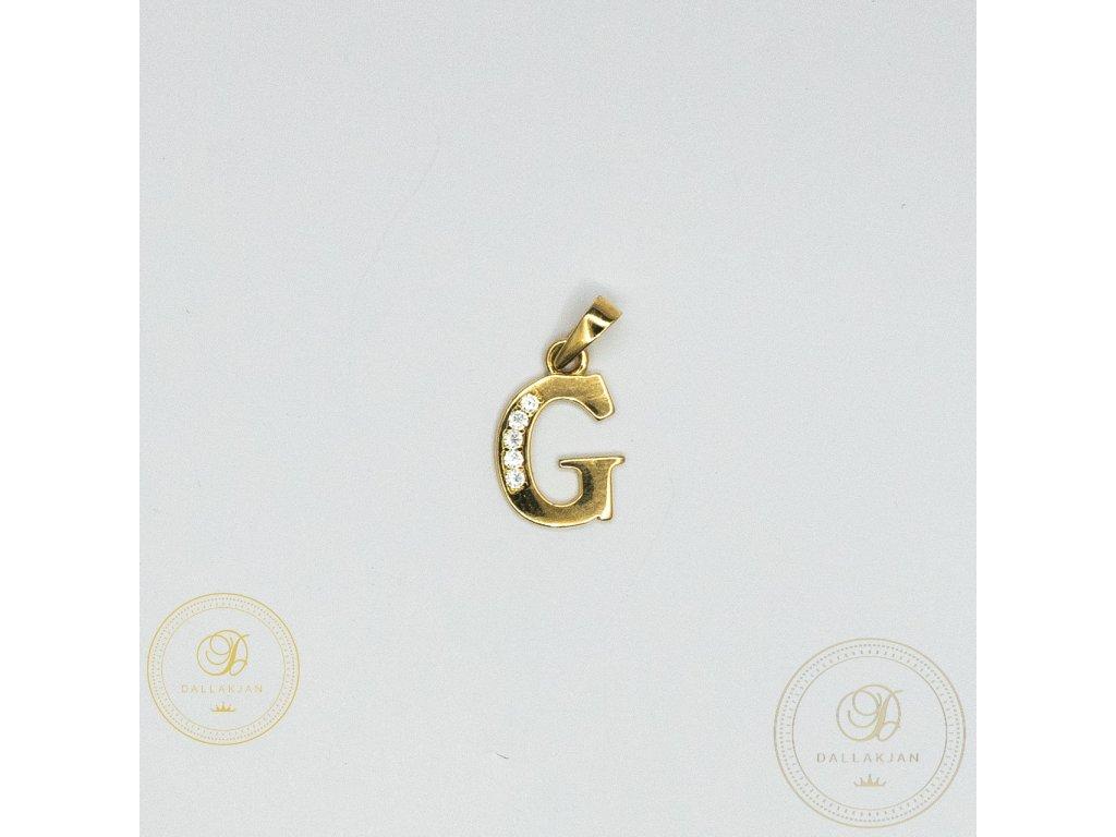 942 privesek g ze zluteho zlata zdobeny zirkonem