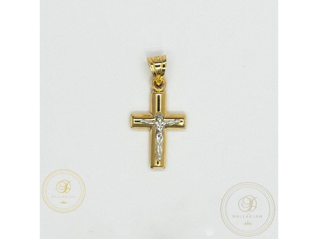 966 privesek kriz ze zluteho zlata s jeziskem z bileho zlata