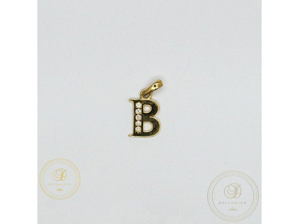 972 privesek b ze zluteho zlata zdobeny zirkonem