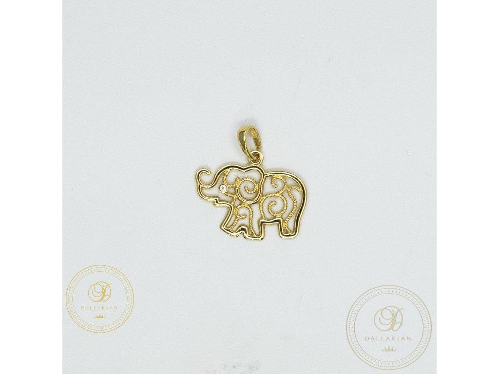 978 privesek slon ze zluteho zlata se zirkonem