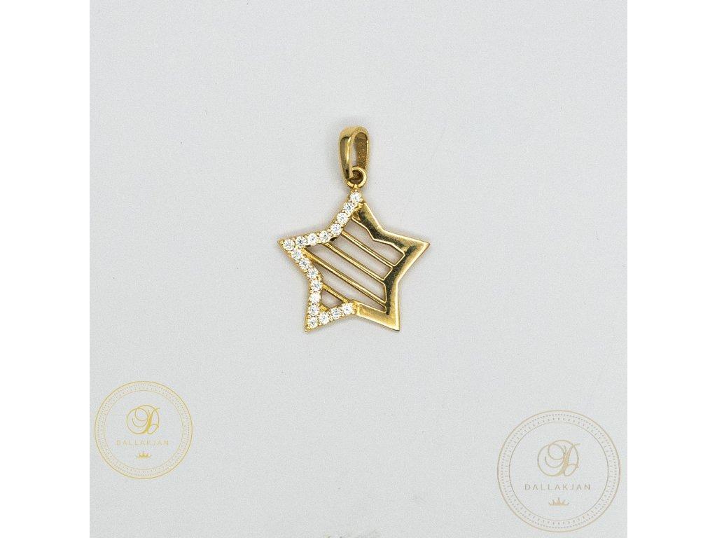 990 privesek hvezda ze zluteho zlata se zirkonem