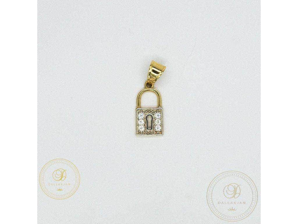 996 privesek zamek ze zluteho zlata se zirkonem