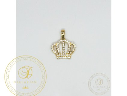 1020 privesek koruna ze zluteho zlata zdobeny zirkonem