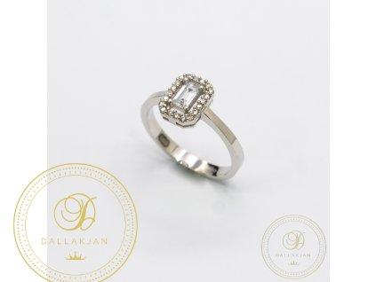 Zásnubní prsten z bílého zlata se zirkonem (Velikost 56)