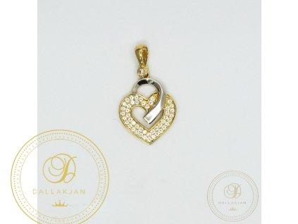 1068 privesek srdce ze zluteho zlata se zirkonem a bilym zlatem
