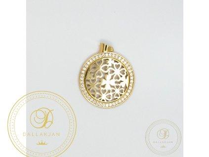 1080 privesek ctyrlistek ze zluteho zlata zdoben zirkonem