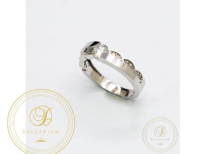 Dámský zlatý prsten z bílého zlata zdobený zirkonem (Velikost 51)