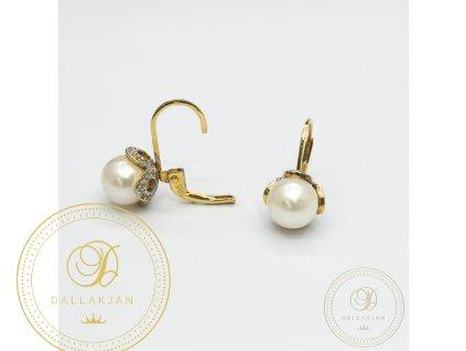 1251 nausnice ze zluteho zlata se zirkonem a perlou