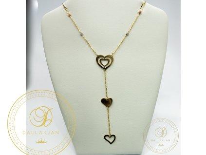 Dámský zlatý nahrdelník s přívěškem srdce různých tvarů (Délka 47)