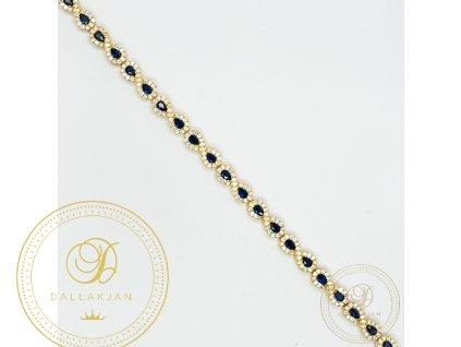 Krásný dámský náramek ze žlutého zlata zdobený tmavě modrým zirkonem (Délka 18)