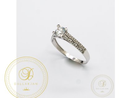 Zásnubní prsten z bílého zlata se zirkonem (Velikost 62)