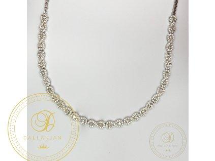 Dámský nahrdelník z bílého zlata zdobený zirkonem (Délka 46)