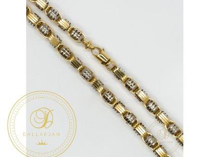 Pánský zlatý řetez ze žlutého a bílého zlata moderní vazba (Délka 66)