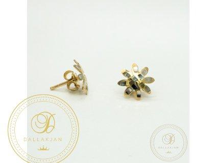 1367 nausnice pecky z kombinovaneho zlata ve tvaru kvetiny
