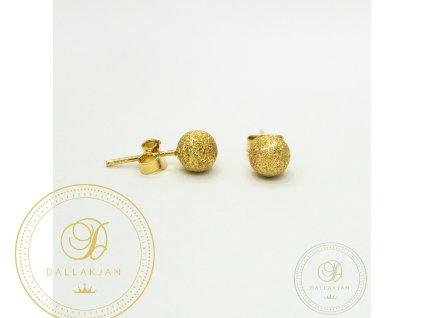 Náušnice pecky ze žlutého zlata kulaté