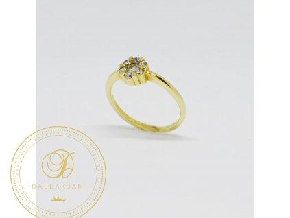 Prsten ze žlutého zlata kytička se zirkony (Velikost 55)