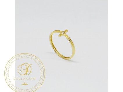 Prsten ze žlutého zlata křížek se zirkonem (Velikost 52)