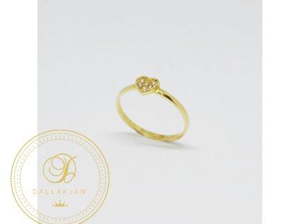 1487 prsten ze zluteho zlata srdicko se zirkony