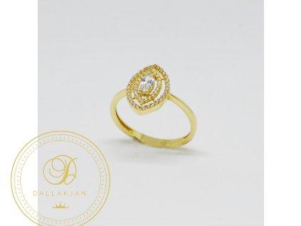 1493 prsten ze zluteho zlata ve tvaru oka se zirkony