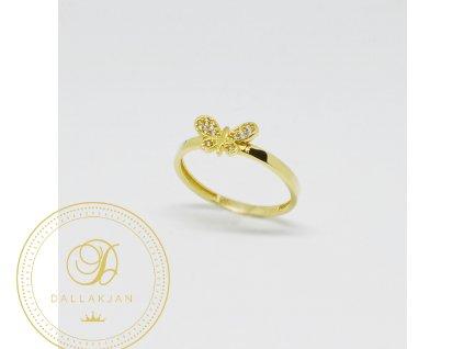 1502 prsten ze zluteho zlata motylek se zirkony